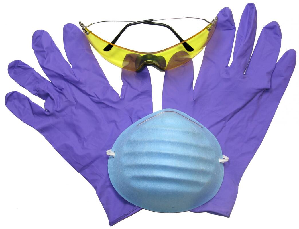 safety glasses protection gloves face mask